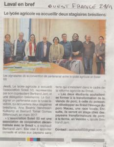 coopération décentralisée Mayenne Brésil article ouest france